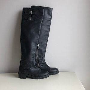 Zara Over The Knee Black Leather Boots Size 36